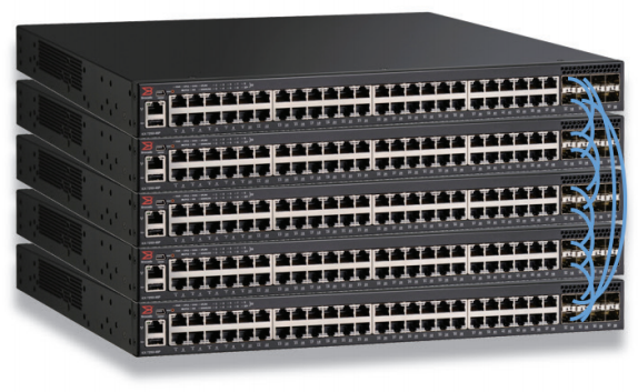 Figure 1: Up to 12 Ruckus ICX 7250 Switches can be stacked together using up to four full-duplex SFP+ 10 Gbps ports for a fully redundant backplane with 480 Gbps of aggregated stacking bandwidth.