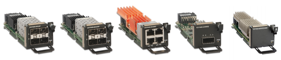 Five different optional port modules are offered for the Ruckus ICX 7450